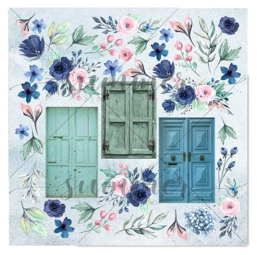 "Лист для вырезания ""Blue outside"" 30,5*30,5см, Summer Studio Blue outside"