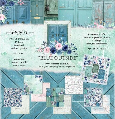 """Набор двусторонней бумаги """"Blue outside"""" 190гр, 30,5*30,5см, Summer Studio Blue outside"""
