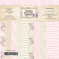 """Фоновый набор двусторонней бумаги """"Hello Spring"""" 190гр, 20*20см, 15 листов +1 бонусный фон, Summer Studio"""