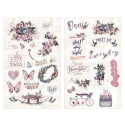 Chipboard stikers, чипборд, Prima Marketing Ink Lavender