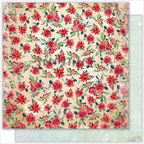 "Лист двусторонней бумаги ""Winter and red"" 30,5*30,5 см, Summer Studio The holiday spirit"