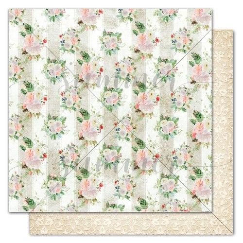 "Лист двусторонней бумаги ""Winter wallpaper"" 30,5*30,5 см, Summer Studio Winter traditions"
