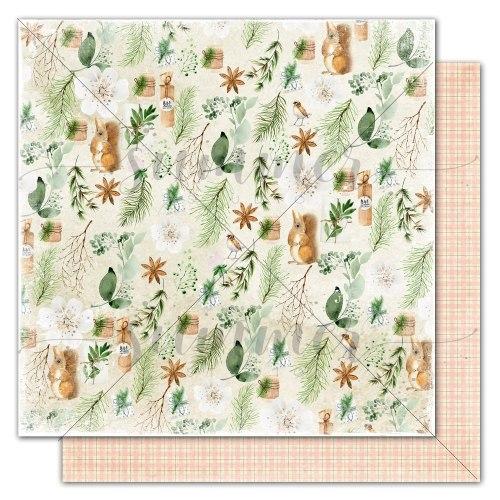 """Лист двусторонней бумаги """"Forest celebration"""" 30,5*30,5 см, Summer Studio Winter traditions"""