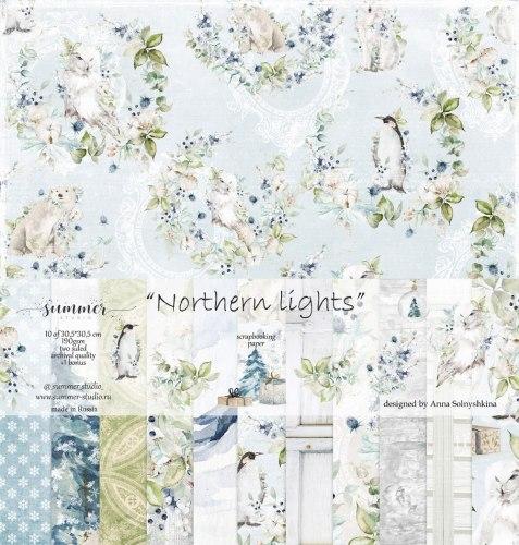 Набор двусторонней бумаги 11 листов, 30,5*30,5 см, Summer Studio Northern lights