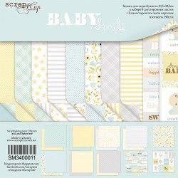 Набор двусторонней бумаги 20х20см, 10 листов Scrapmir Smile Baby