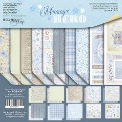 Набор двусторонней бумаги 30х30см, 10 листов, Scrapmir Mommy's Hero