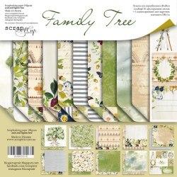 Набор двусторонней бумаги, 20х20 см, Scrapmir Family Tree