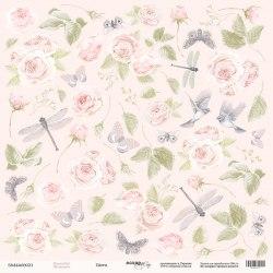 """Лист односторонней бумаги для вырезания """"Цветы"""", 30x30 см., Scrapmir Beautiful Moments"""