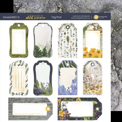 "Лист двусторонней бумаги ""Tag-Pad"" теги, 20х20 см, Scrapmir Herbarium Wild Summer"
