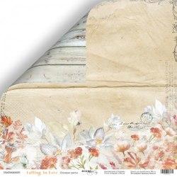 """Лист двусторонней бумаги """"Осенние цветы"""" 30x30 см., Scrapmir Falling in Love"""