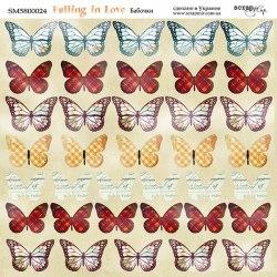 "Лист двусторонней бумаги ""Бабочки"", 20x20 см. Scrapmir Falling in Love"