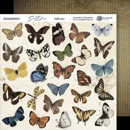 "Лист двусторонней бумаги ""Бабочки"", 20x20 см. Scrapmir Some days"