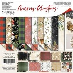 Набор двусторонней бумаги, 20х20 см, Scrapmir Merry Christmas