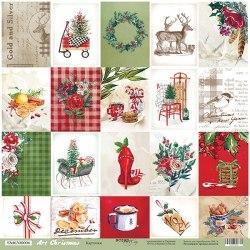 """Лист односторонней бумаги """"Карточки"""" 30x30 см., Scrapmir Art Christmas"""