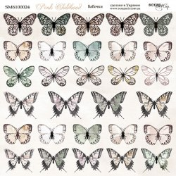"Лист двусторонней бумаги ""Бабочки"", 20x20 см. Scrapmir Pink Childhood"