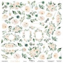 """Лист двусторонней бумаги """"Цветочки"""", 30x30 см. Scrapmir Pink Childhood"""