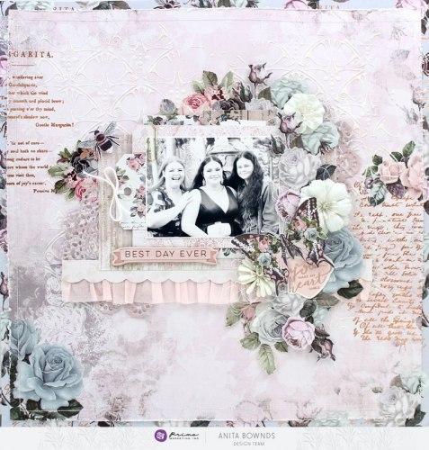 Набор скрапбумаги, 6 двусторонних листов, А4 формата, Prima Marketing Ink Poetic Rose