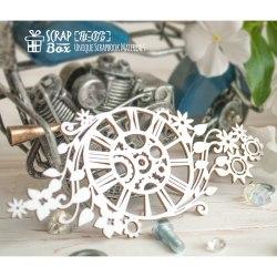 Чипборд часы с шестеренками и растительным мотивом, ScrapBox