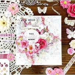 Набор цветов + бабочка Prima Marketing Ink из коллекции Misty Rose