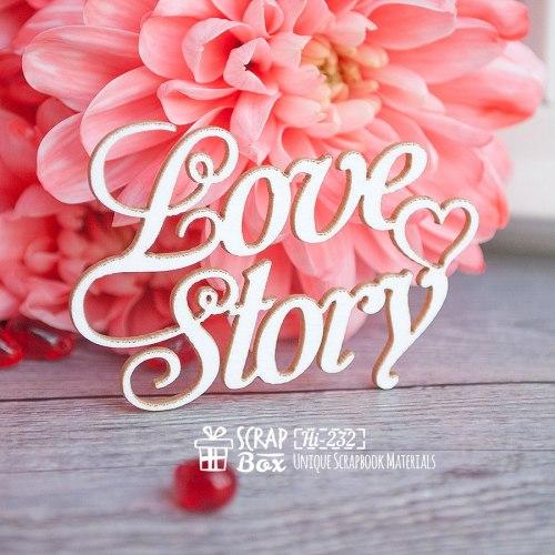 "Чипборд надпись ""Love Story"" ScrapBox"