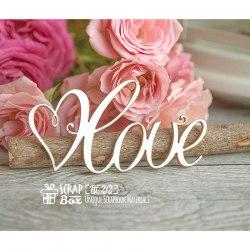 Чипборд надпись Love с сердечком ScrapBox