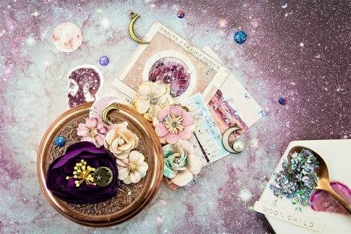 Набор цветов + бабочка, 14 шт. Prima Marketing Ink из коллекции Moon Child