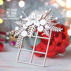 Чипборд окошко с новогодней композицией ScrapBox