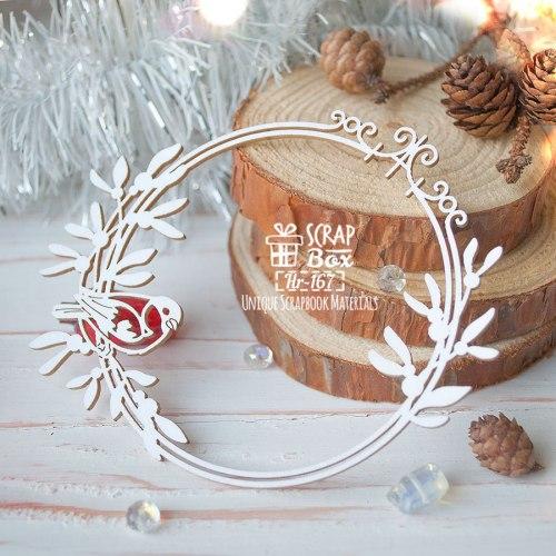 Чипборд круглая рамка с омелой и снегирем ScrapBox