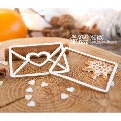 Чипборд шейкер конвертик с сердечком 2шт ScrapBox