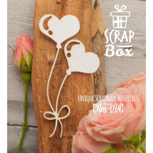 Чипборд воздушные шарики сердечки ScrapBox