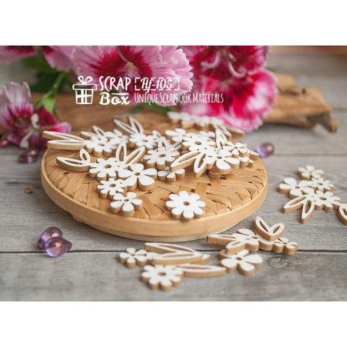 Чипборд набор цветочков с листиками (20 шт) ScrapBox