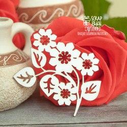 Чипборд веточка с цветочками ScrapBox