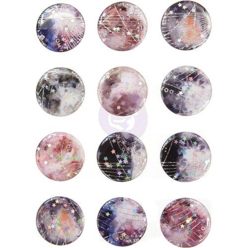 Эмалевые стикеры, 12 шт., Enamel Stickers Prima Marketing Ink Moon Child