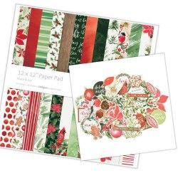 Набор бумаги для скрапбукинга 30х30, 24 листа + набор высечек, коллекция Peace & Joy Kaisercraf