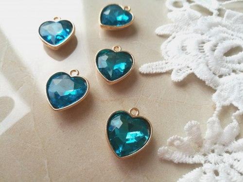 Подвеска Сердце, цвет голубой