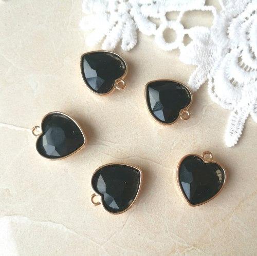 Подвеска Сердце, цвет черный