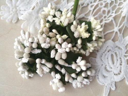 Букет тычинок, 12 шт., цвет айвори и белый