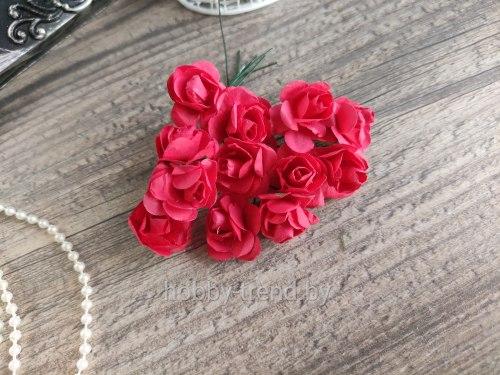 Розы 2 см, цвет красный, 12 шт.