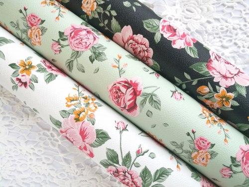 Искусственная кожа печатная «Шебби розы », цвет на выбор