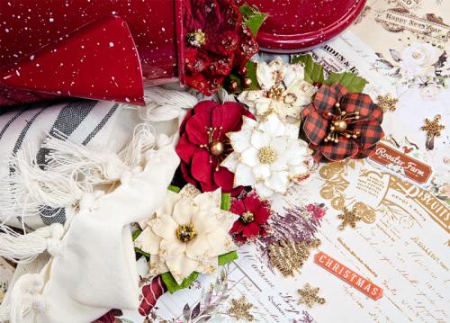 Набор скрапбумаги 30х30 см с золотым фольгированием, Prima Marketing Ink Christmas In The Country