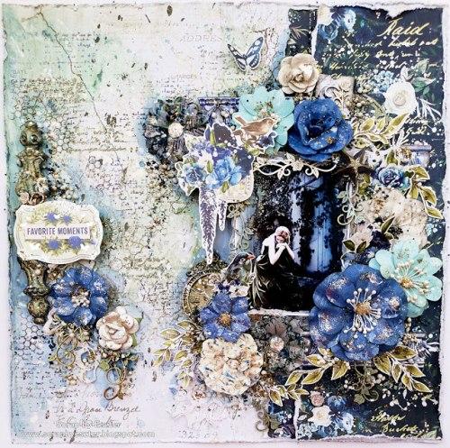 Набор цветов с трафаретом, Prima Marketing Ink Georgia Blues