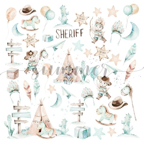 Лист для вырезания 30,5*30,5см, Summer Studio Little sheriff