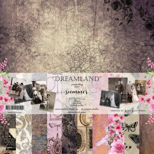 """Набор двусторонней бумаги 11шт, 30,5*30,5см, 250гр. Summer Studio """"Dreamland"""""""