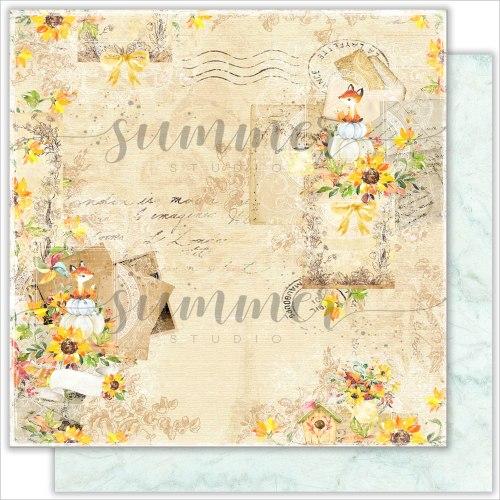 "Лист двусторонней бумаги ""Autumn letters"" 30,5*30,5см, 190гр. Summer Studio Autumn stories"