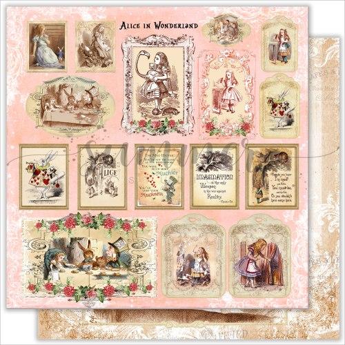 "Лист двусторонней бумаги ""Magic cards"" 30,5*30,5см, 190гр. Summer Studio Alice in wonderland"