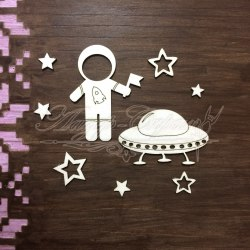 "Чипборд набор ""Космонавт"", ЛазерСкрап"