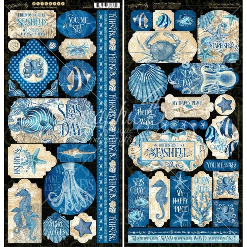 Набор наклеек из кардстока, коллекция Okean Blue, Graphic 45