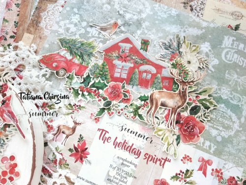 "Лист двусторонней бумаги ""Christmas trip"" 30,5*30,5см, Summer Studio The holiday spirit"