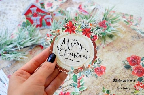 "Лист двусторонней бумаги ""Cristmas wishes"" 30,5*30,5см, Summer Studio The holiday spirit"