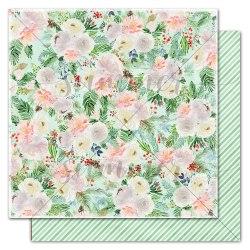 "Лист двусторонней бумаги ""Traditional flowers"" 30,5*30,5см, Summer Studio Winter traditions"